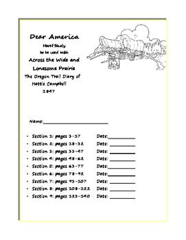 Novel Study - Dear America - The Oregon Trail Diary of Hattie Campbell