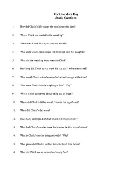Novel Study, For One More Day (by Mitch Albom) Study Guide