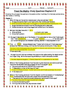 Novel Study: Freak The Mighty Study Questions Chapters 1-9 KEY
