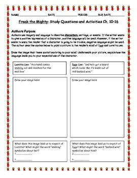 Novel Study: Freak The Mighty Study Questions Chapters 10-16