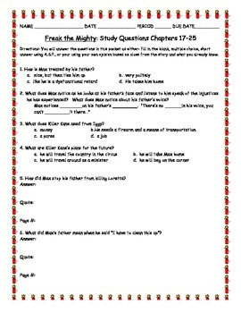 Novel Study: Freak The Mighty Study Questions Chapters 17-25