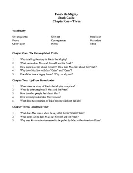 Novel Study, Freak the Mighty (by Rodman Philbrick) Study Guide