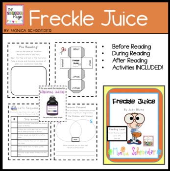 Novel Study Freckle Juice By The Schroeder Page Tpt