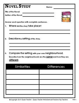 Novel Study-Generic Novel Study Questions-Intermediate-Grades 3-6, 3rd-6th Grade