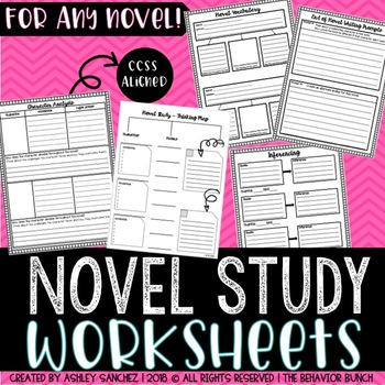 Worksheets & Graphic Organizers for ANY Novel Study - CCSS Aligned