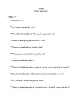 Novel Study, Grendel (by John Gardner) Study Guide