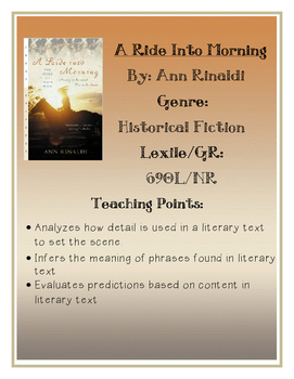 Novel Study Guide-A Ride In To Morning