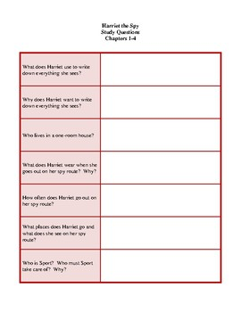 Novel Study, Harriet the Spy (by Louise Fitzhugh) Study Guide