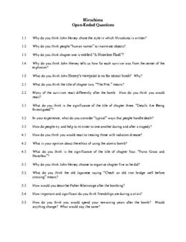 Novel Study, Hiroshima (by John Hersey) Study Guide