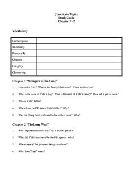Novel Study, Journey to Topaz (by Yoshiko Uchida) Study Guide
