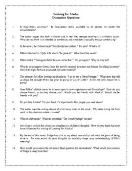 Novel Study, Looking for Alaska (by John Green) Study Guide
