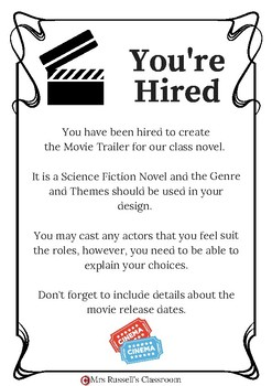 Novel Study Movie Trailer or Movie Poster Project