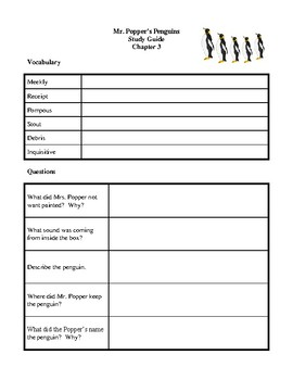 Novel Study, Mr. Popper's Penguins (by Richard and Florence Atwater) Study Guide