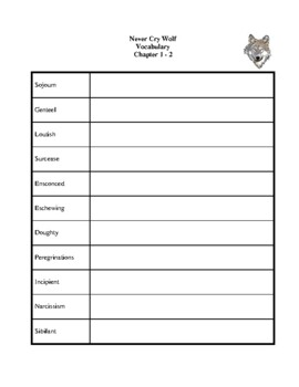 Novel Study, Never Cry Wolf (by Farley Mowat) Study Guide