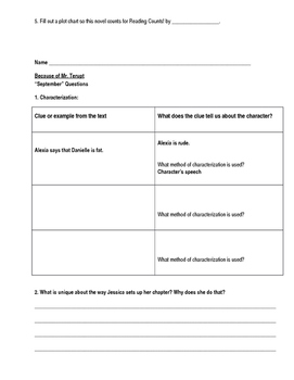Novel Study Packet for Because of Mr. Terupt
