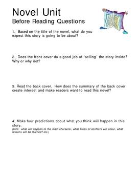 Novel Study Pre Reading Questionnaire
