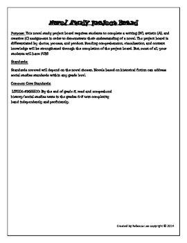 Novel Study Project Board