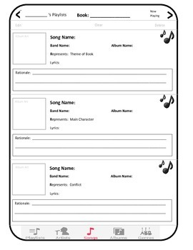 Novel Study Project AND Rubric: Create iPod Playlist - Theme Character Conflict