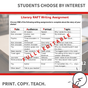 Novel Study - RAFT writing assignment
