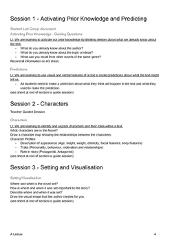 Novel Study - Reading Comprehension Strategies and Teacher Guided Workshops