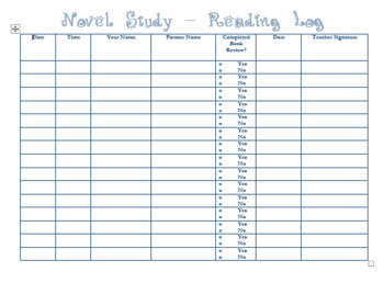 Novel Study-Reading Log