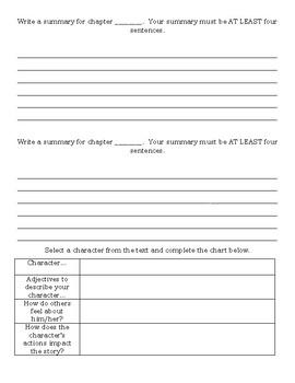 Novel Study Skills Sheet