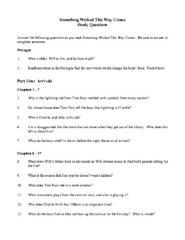 Novel Study, Something Wicked This Way Comes (by Ray Bradbury) Study Guide