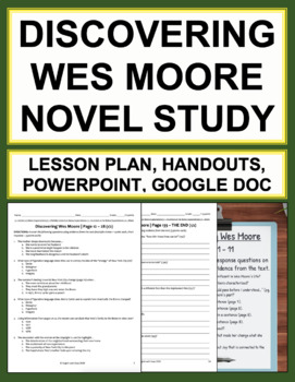 Discovering Wes Moore Novel Study Lessons & Student Packet