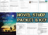Novel Study Student Packet & Key for Where the Red Fern Grows (Rawls) - Level X