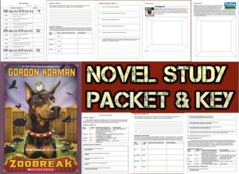 Novel Study Student Packet & Key for Zoobreak (Korman) - Level T