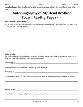 Autobiography of My Dead Brother Novel Study W.D. Meyers Student Packet