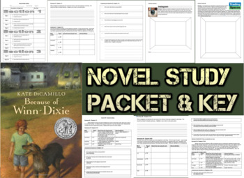 Novel Study Student Packet and Key for Because of Winn Dixie - Level R