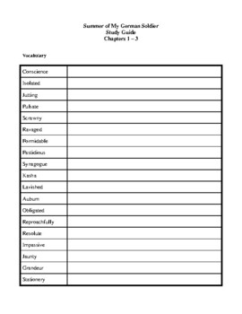 Novel Study, Summer of My German Soldier (by Bette Greene) Study Guide