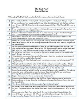 Novel Study, The Black Pearl (by Scott O'Dell) Study Guide