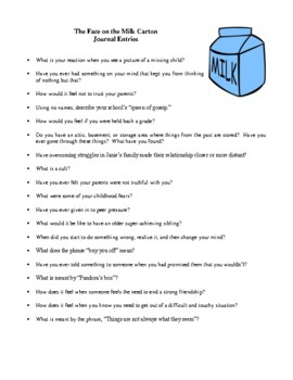 Novel Study, The Face on the Milk Carton (by Caroline B. Cooney) Study Guide