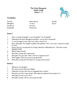 Novel Study, The Glass Menagerie (by Tennessee Williams) Study Guide