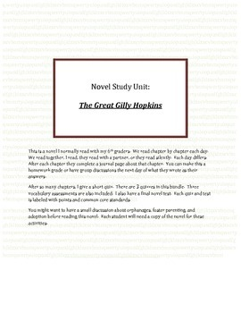 Novel Study, The Great Gilly Hopkins