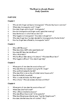 Novel Study, The Heart is a Lonely Hunter (by Carson McCullers) Study Guide