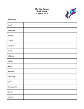Novel Study, The Kite Runner (by Khaled Hosseini) Study Guide