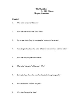 Novel Study, The Outsiders (by S.E. Hinton) Study Guide