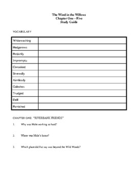 Novel Study, The Wind in the Willows (by Kenneth Grahame) Study Guide