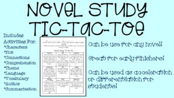 Novel Study Tic-Tac-Toe