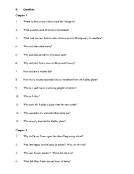 Novel Study, To Kill a Mockingbird (by Harper Lee) Study Guide
