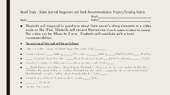 Novel Study Video Response Journal Project