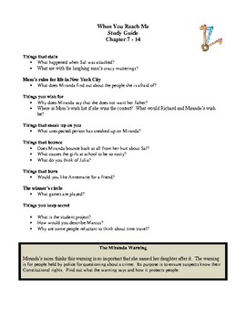 Novel Study, When You Reach Me (by Rebecca Stead) Study Guide