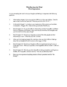 Novel Study, Who Has Seen the Wind (by W.O. Mitchell) Study Guide