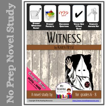 Novel Study Witness by Karen Hesse
