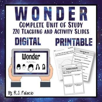 Novel Study: Wonder by RJ Palacio Digital and Printable -Distance Learning Ready