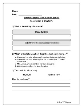 Novel Study Worksheets for Sideways Stories from Wayside School