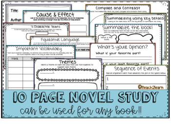 Novel Study - for ANY Book - 10 pages + cover - Reading Comprehension
